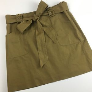 Milly Tan Army Bow Belt Mini Skirt